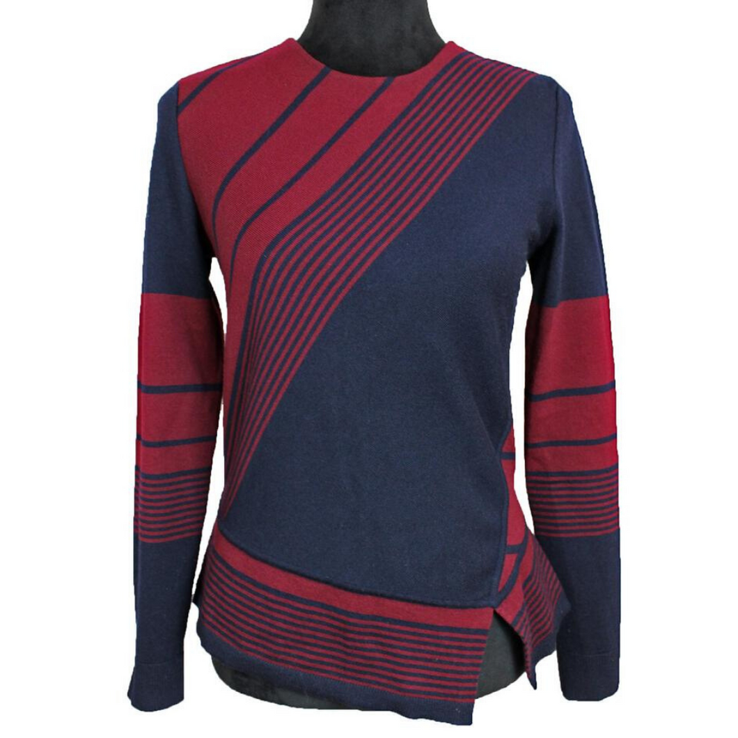 Tory Burch Asymmetrical Striped Sweater (Red/Blue)