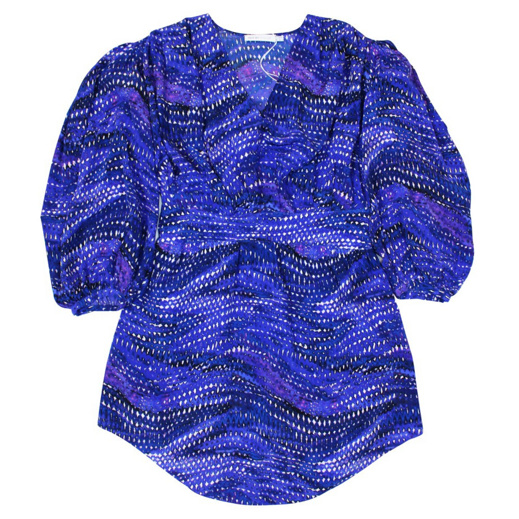 See By Chloé Crepe De Chine Blouse (Blue/Purple)