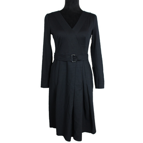 Akris Punto Belted Pleated Dress (Black)