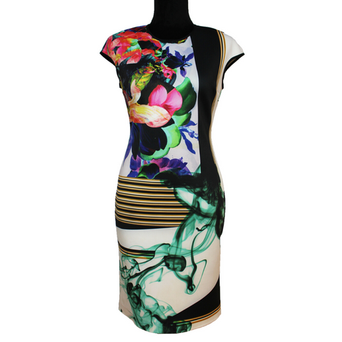Clover Canyon Sleeveless Scuba Dress (White/Multicolor)
