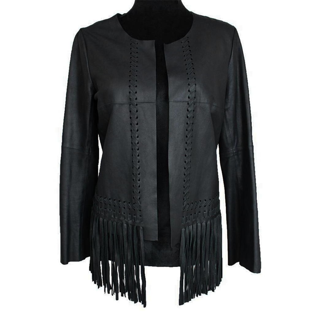 Elizabeth & James Garvin Leather Fringe Jacket