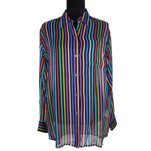 Equipment Multicolor Stripe Silk Top (Black/Multicolor)