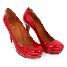Load image into Gallery viewer, Red Vernice Crystal Tabasco Platforms