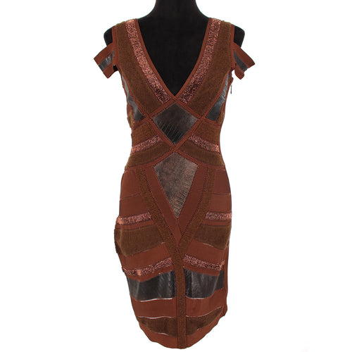 Hervé Leger Leather Embellished Cocktail Dress (Brown)