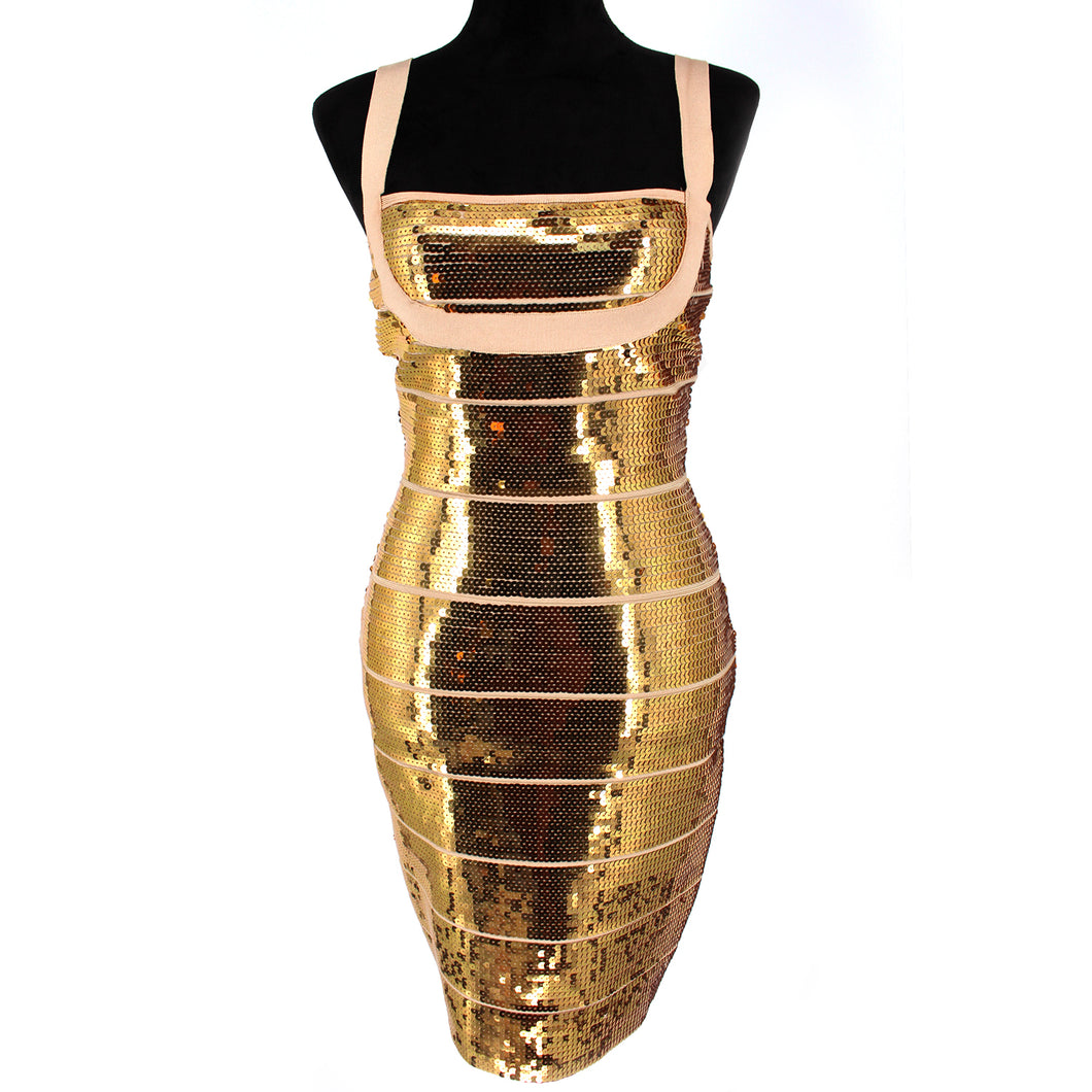 Hervé Leger Katherine Gold Sequin Bandage Dress Medium