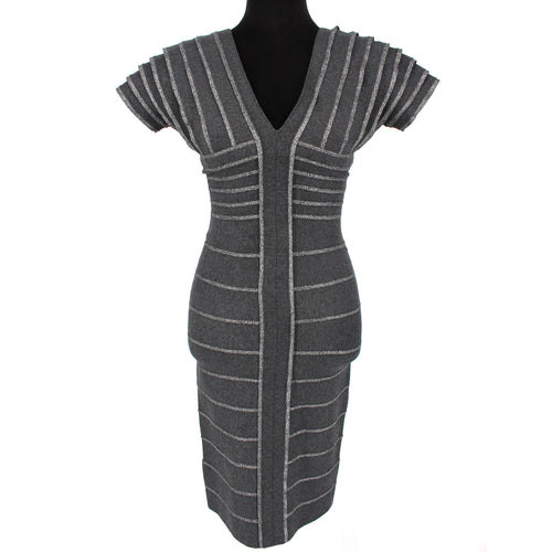 Hervé Leger Silver Threaded Gray Bandage Dress Size Small