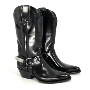 Calvin Klein 205W39NYC Black Leather Embellished Boots
