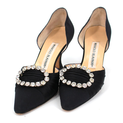 Satin Embellished Oval Heels