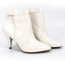 Load image into Gallery viewer, NEW Celine Leather Ruched Button Ankle Booties 36