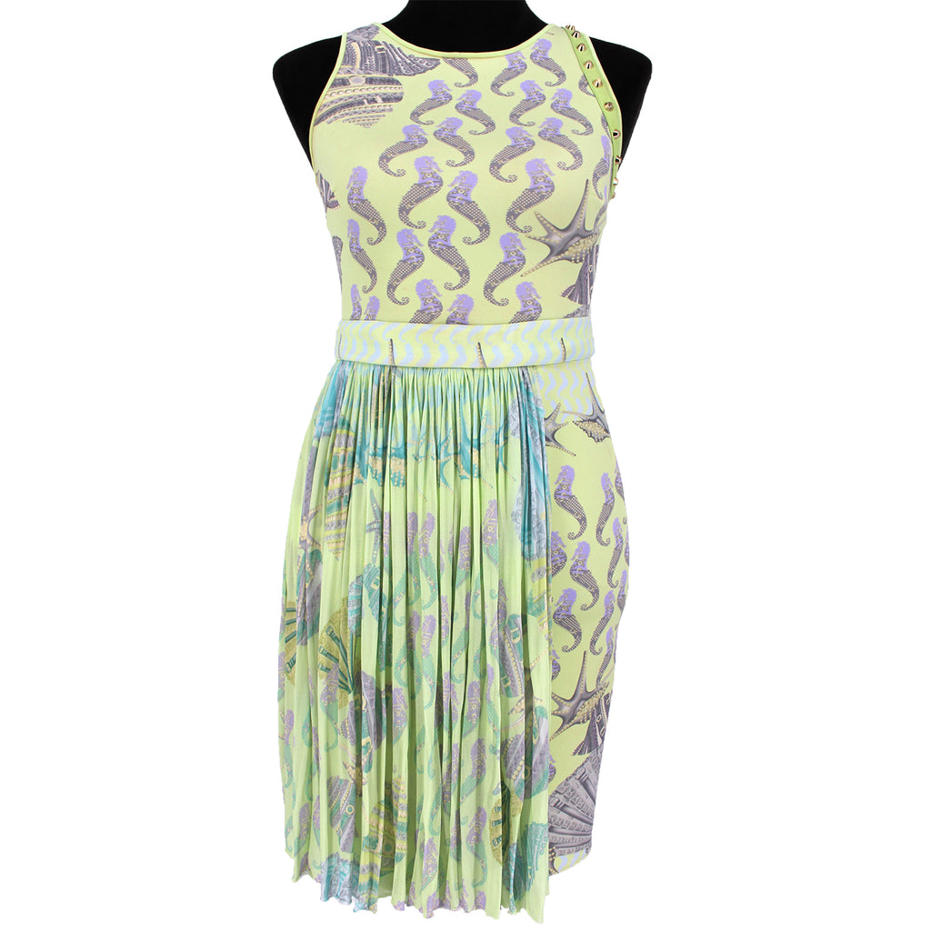 Versace Seahorse Print Draped Dress Green