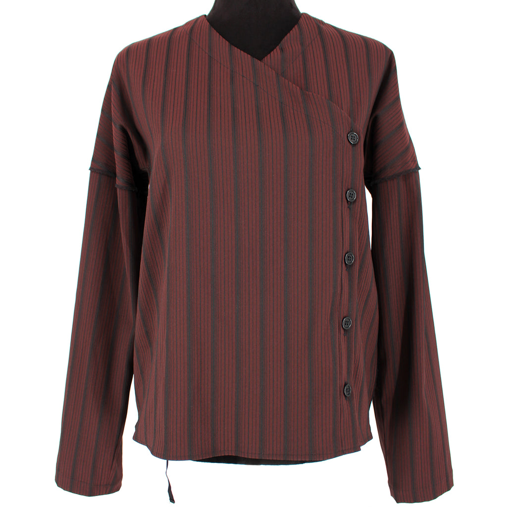 Hache Striped Asymmetrical Blouse