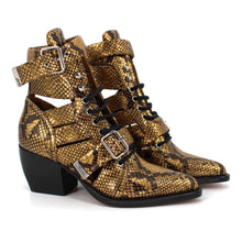 Load image into Gallery viewer, NWB CHLOE Rylee Python Caged Harvest Gold Boots 36