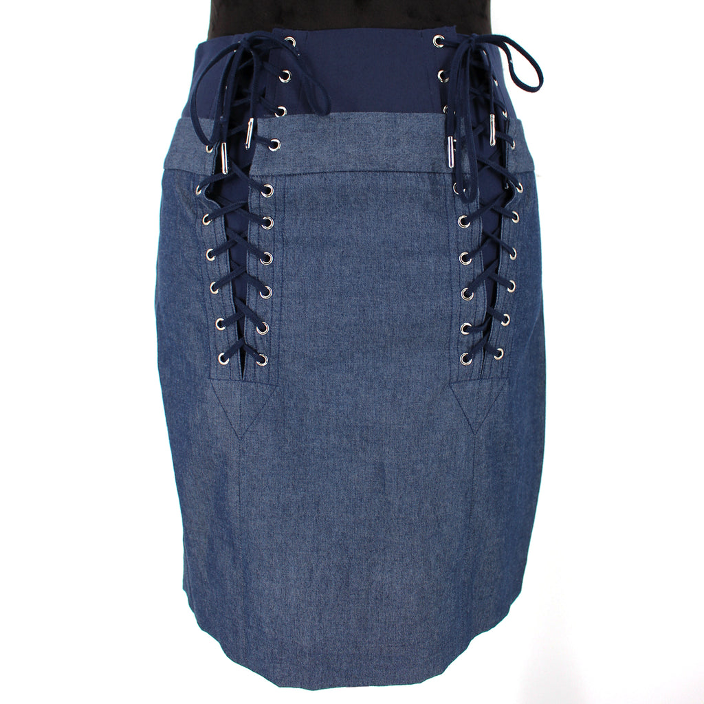 Fleur Du Mal Lace Up Blue Skirt