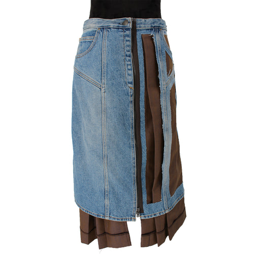 Maison Margiela Décortiqué' Wool Blend And Denim Skirt 42