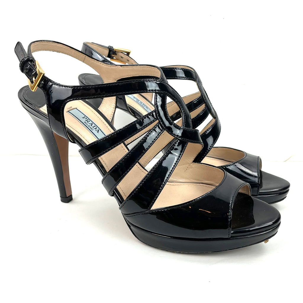 Prada Patent Platform Caged Pumps
