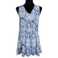 Load image into Gallery viewer, Show Me Your Mumu Riri Ruffled Romper (Blue/White)