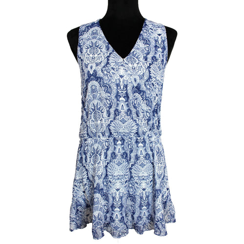 Show Me Your Mumu Riri Ruffled Romper (Blue/White)