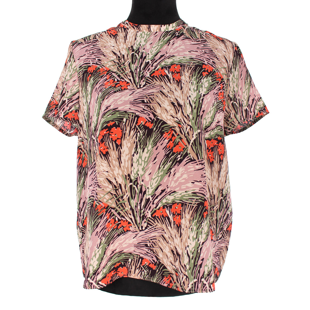 Valentino Floral Silk Short Sleeve Top