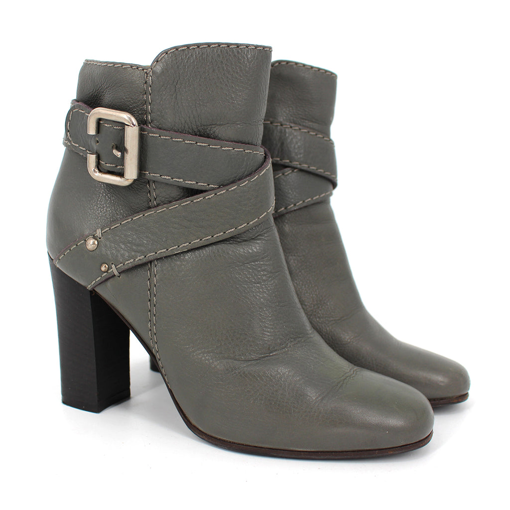 Chloe Leather Buckle Ankle Boots