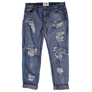 One Teaspoon Awesome Baggies Distressed Jeans (Blue)