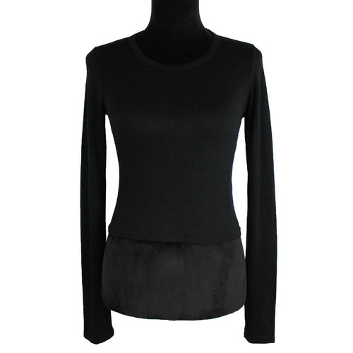 Wilfred Free Cropped Long Sleeve Top (Black)