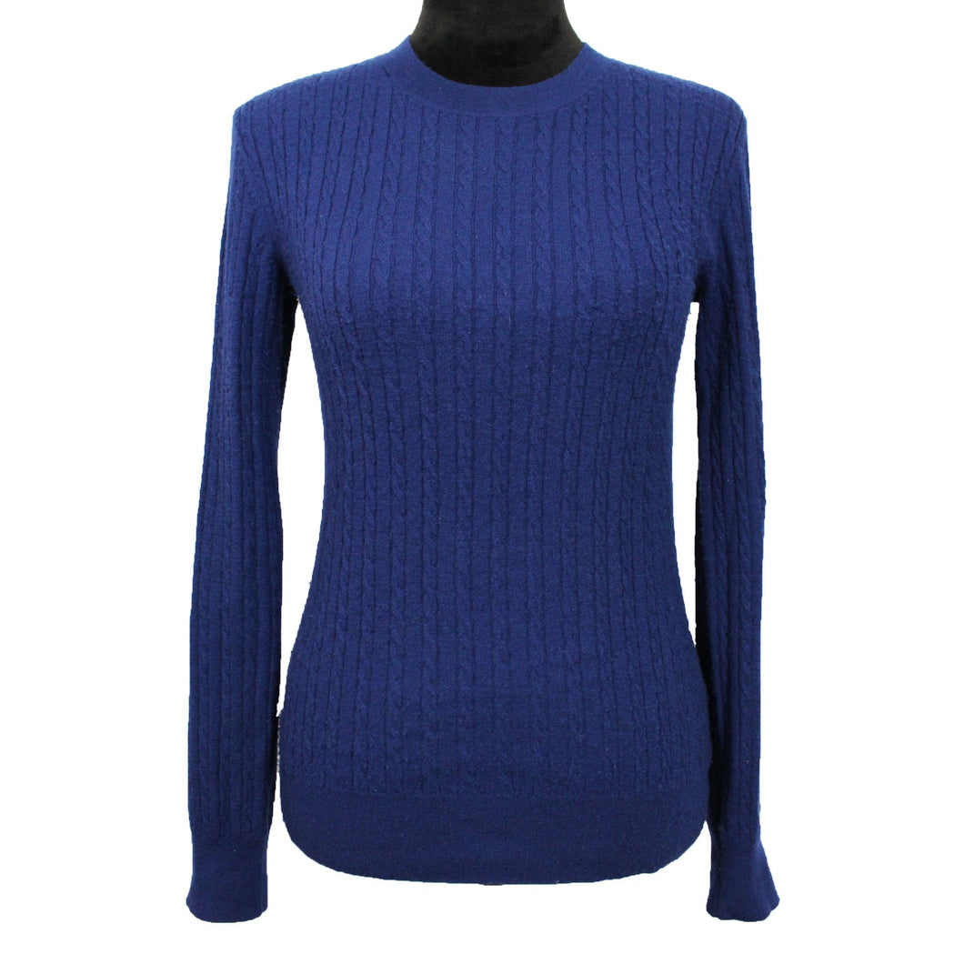 Michael Kors Collection Cable-Knit Crewneck Sweater (Blue)