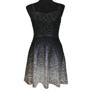 Free People Lace Ombre Foil Dress (Black/Silver)