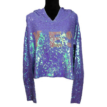 "Load image into Gallery viewer, Wildfox Celebration Billie Sequin ""YES"" Hoodie Purple"