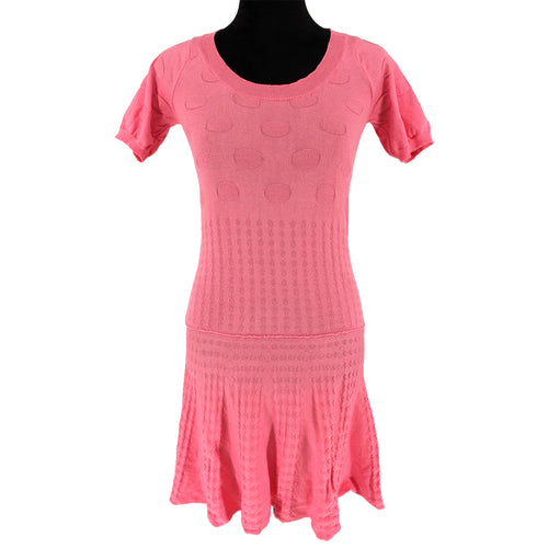 See By Chloe Bubble-Knit Jacquard Dress (Pink)