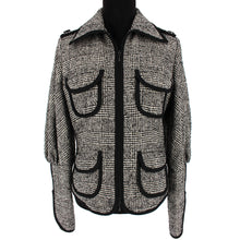 Load image into Gallery viewer, Anne Fontaine Angelina Plaid Lace Back Jacket (Gray)