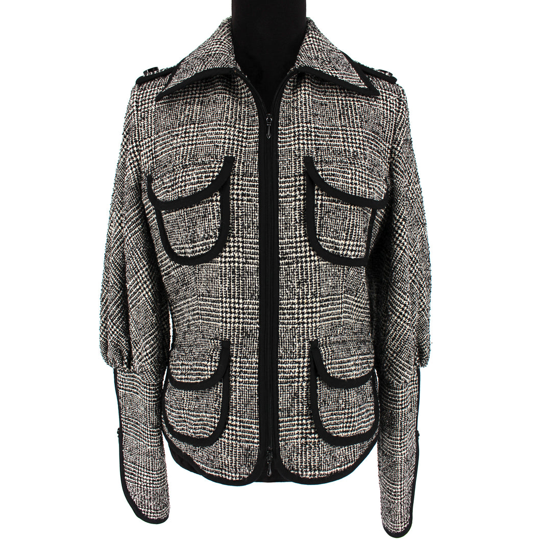 Anne Fontaine Angelina Plaid Lace Back Jacket (Gray)