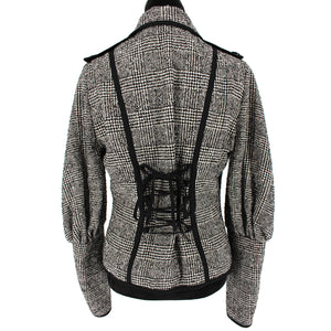 Angelina Plaid Lace Back Jacket