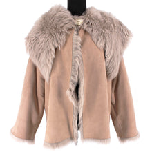 Load image into Gallery viewer, Rubin Singer Reversible Shearling Fur Coat with Shawl Collar (Taupe)
