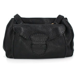 PRADA Textured Leather Bag with Front Pocket (Brown)