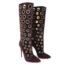 Load image into Gallery viewer, Christian Louboutin Suede Goldtone Eyelet Apollo 100mm Knee High Boots