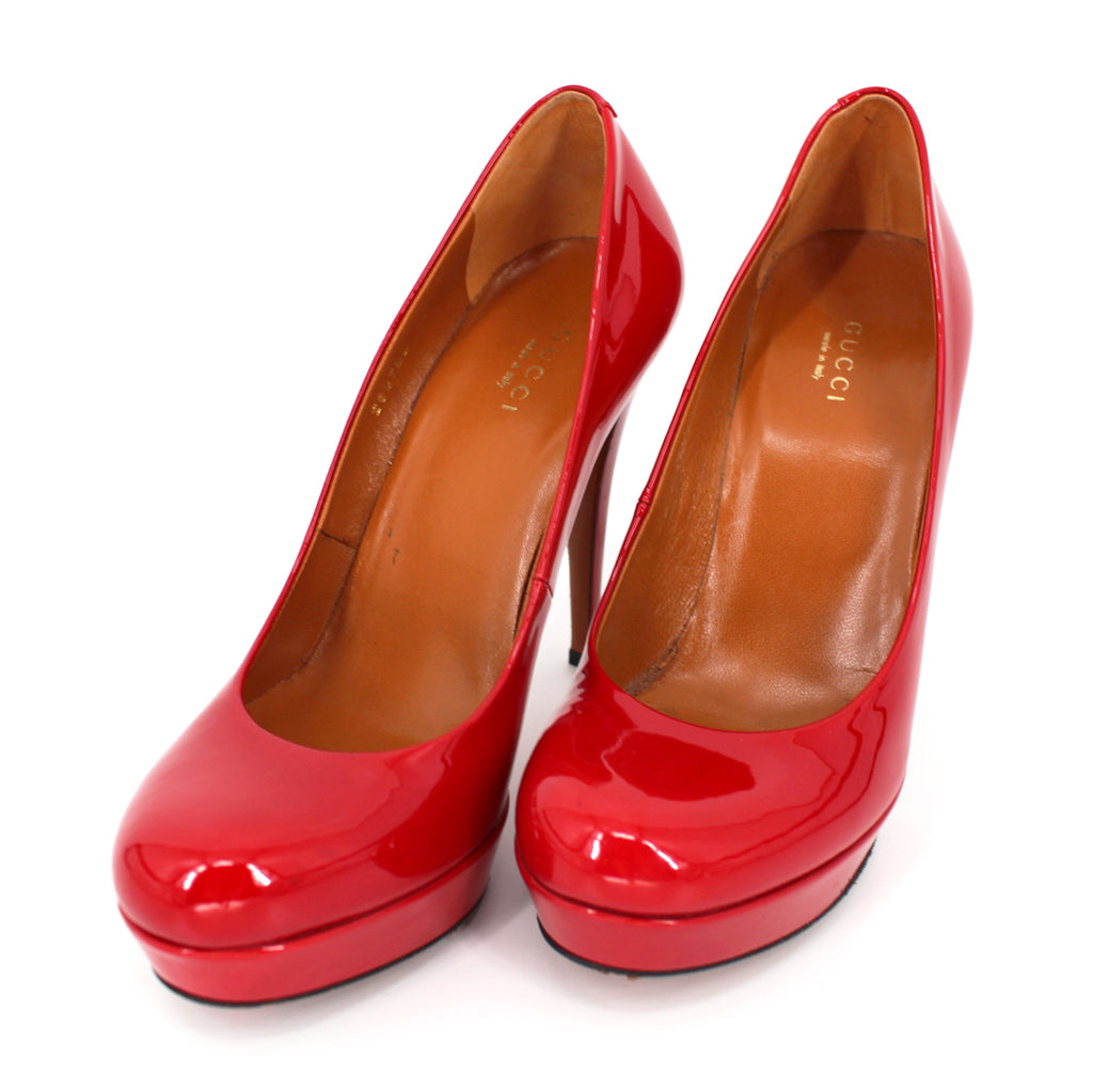 Gucci Red Vernice Crystal Tabasco Platforms Heels 37