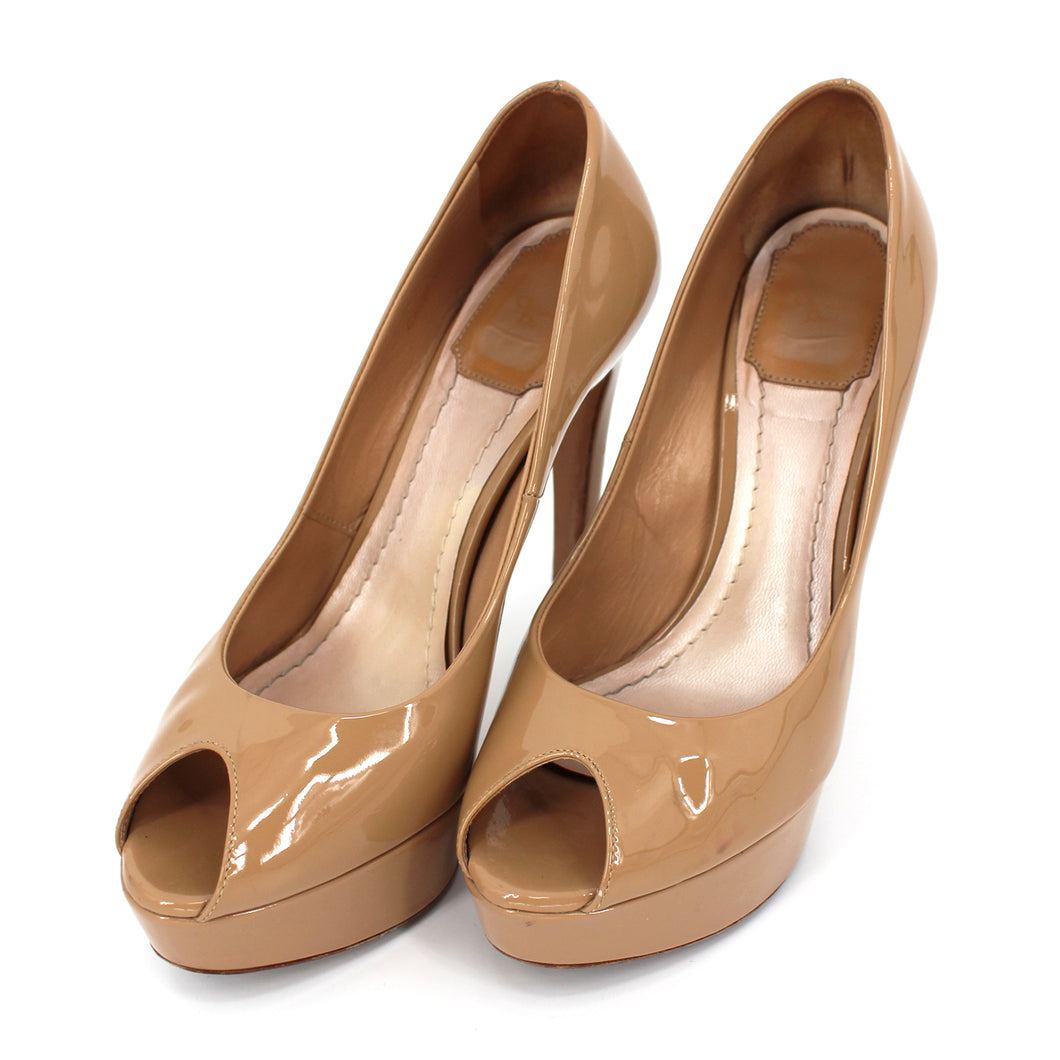 Dior Miss Dior Patent Peep Toe Pumps Nude 36.5