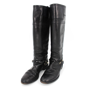 Dior Black Etrier Leather Buckle High Riding Boots 38