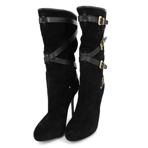 Dior Black Cavalier Low Suede Buckle Boots With Box 38