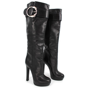 Gucci Josephine Metal Horse Ring Buckle Knee Boots 36