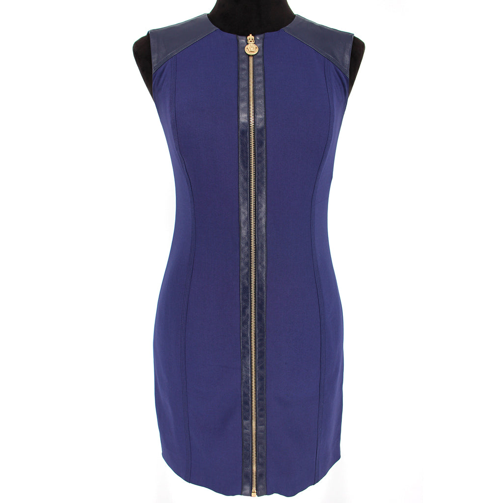Versace Wool Leather Trim Blue Sleeveless Zip Front Dress 40