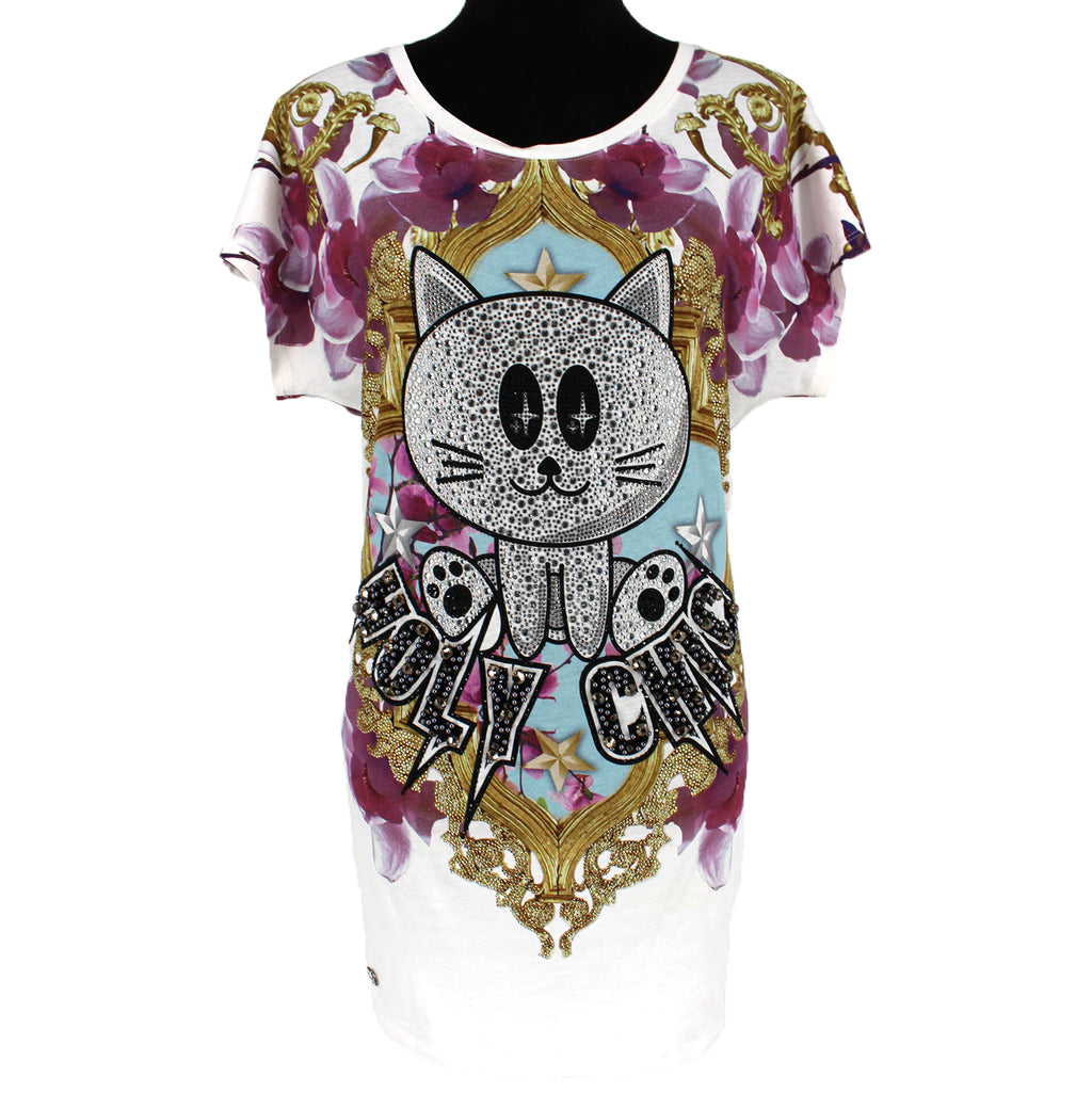 Phillip Plein Embellished Holy Chic Cat T-Shirt Dress Size M
