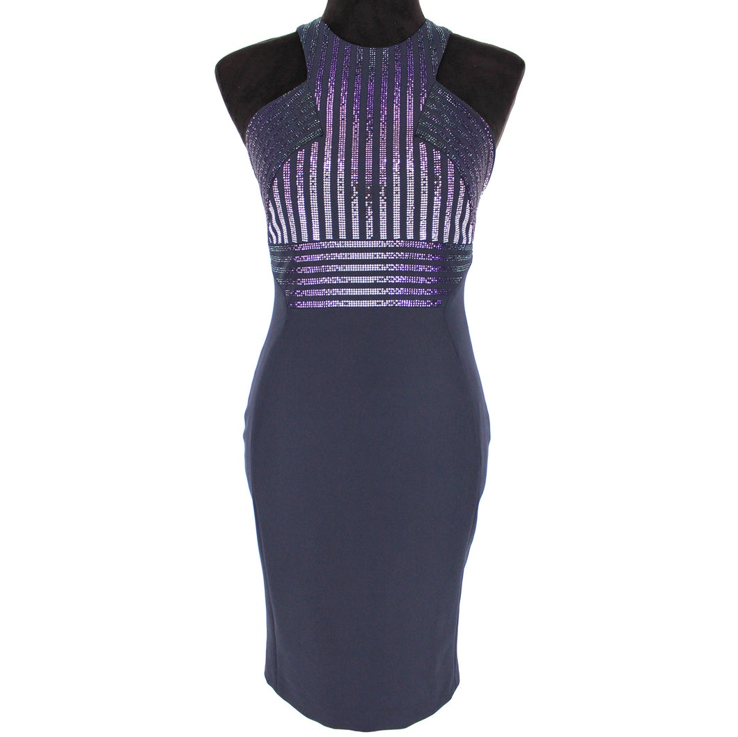 Versace Collection Purple Embellished Sleeveless Dress 38