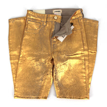 Load image into Gallery viewer, L'AGENCE Margot High Rise Skinny Crackle Foil Gold 24