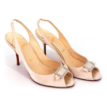 Load image into Gallery viewer, Christian Louboutin Maria Satin Sling Heels (Off White)