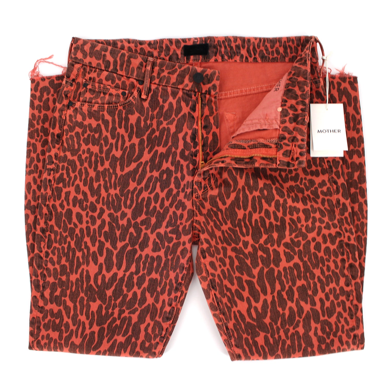 Mother The Looker High Waist Red Leopard Fray Skinny Jeans 30