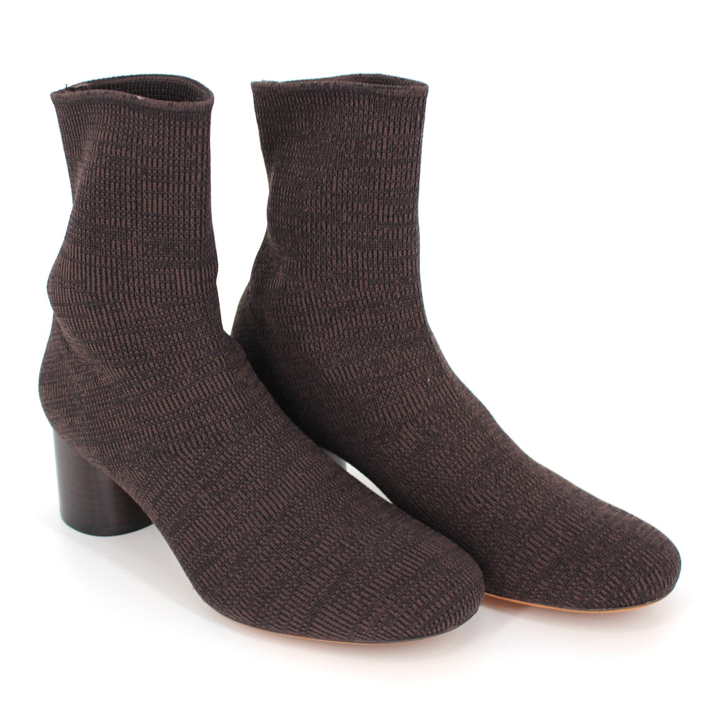 Vince Tasha Sock Knit Booties Mahogany 8.5 New With Box
