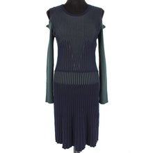 Load image into Gallery viewer, VERSACE Cold Shoulder Ribbed Wool Sweater Dress Navy Green Size 8