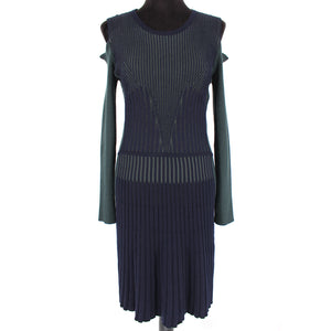 VERSACE Cold Shoulder Ribbed Wool Sweater Dress Navy Green Size 8