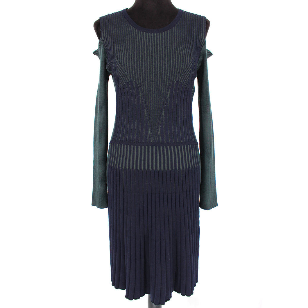 VERSACE Cold Shoulder Ribbed Wool Sweater Dress Navy Green Size 10